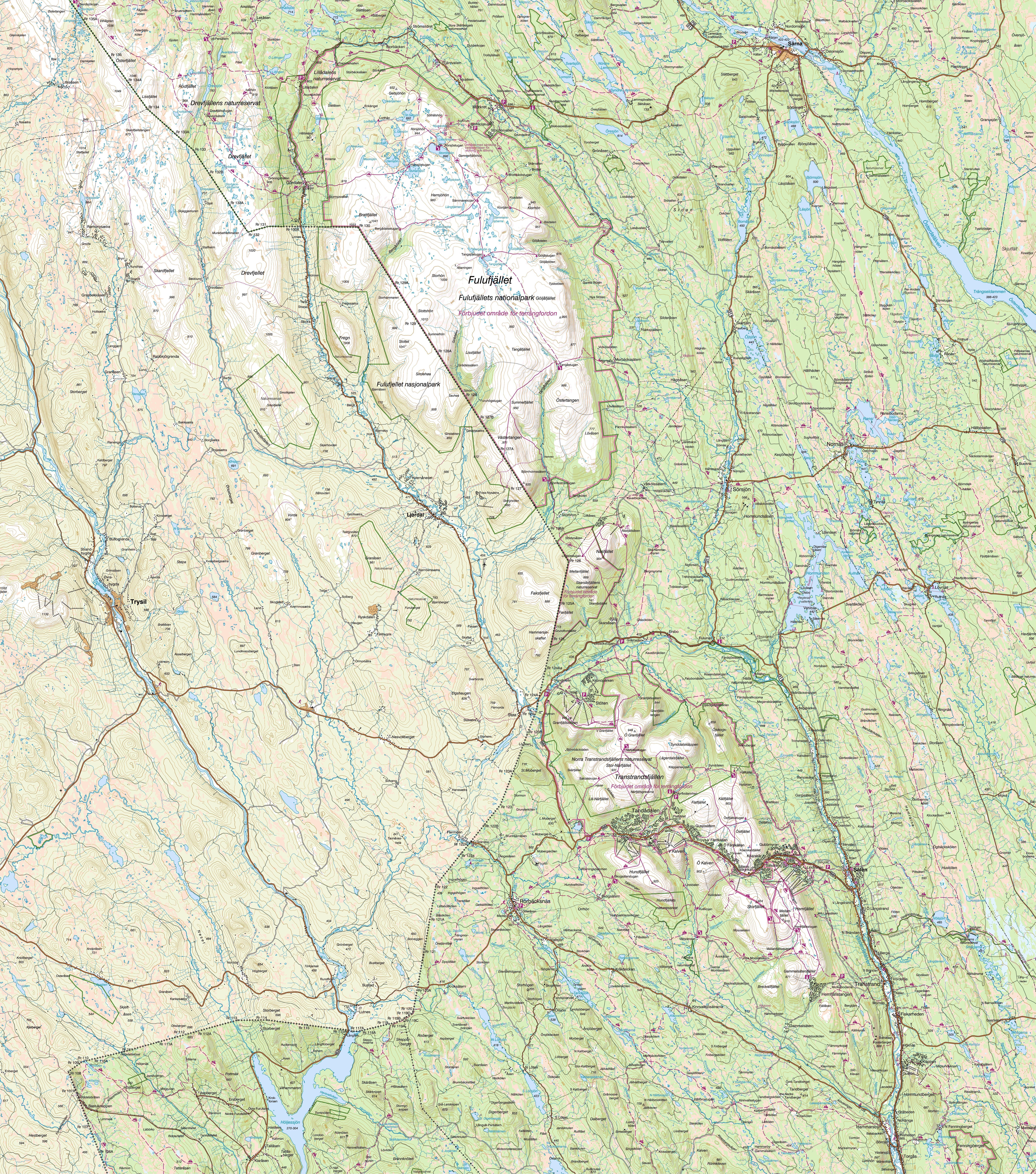 fulufjället karta Fjällkartan fulufjället karta